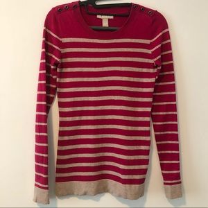 Banana Republic | Striped hot pink knit